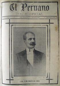 Primera fotografía publicada en El Peruano, por la muerte del Presidente Manuel Candamo (1904)